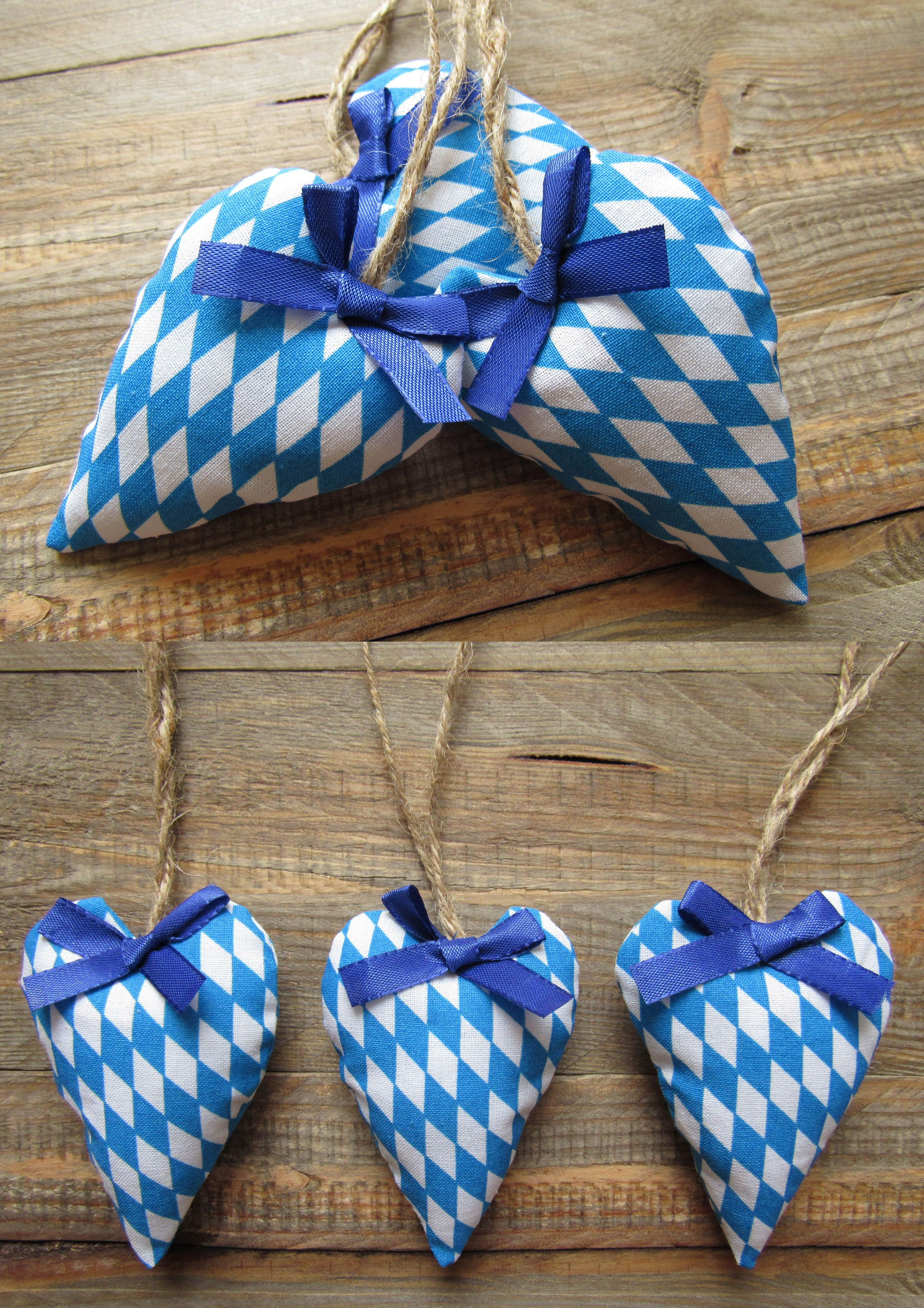 set of 3 fabric hearts oktoberfest heart hangers traditionally diamonds blue white oktoberfest. Black Bedroom Furniture Sets. Home Design Ideas