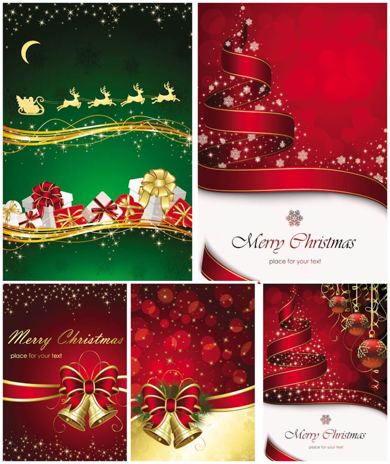 Christmas decorated cards vector christmas greeting