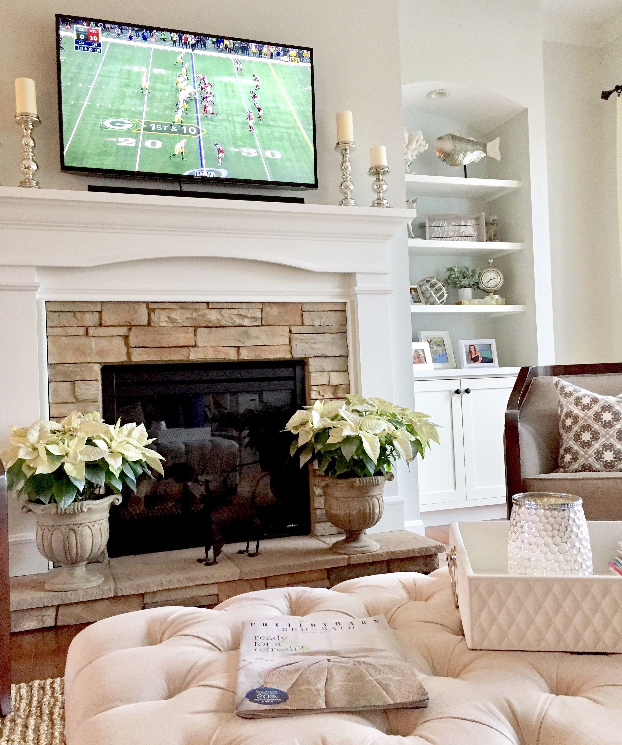 Paint color Sherwin Williams Conservative Gray Fireplace built