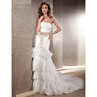 trompeta / sirena sin tirantes con el vestido de boda de los marcos de tren capilla tafetán - USD $ 176.99
