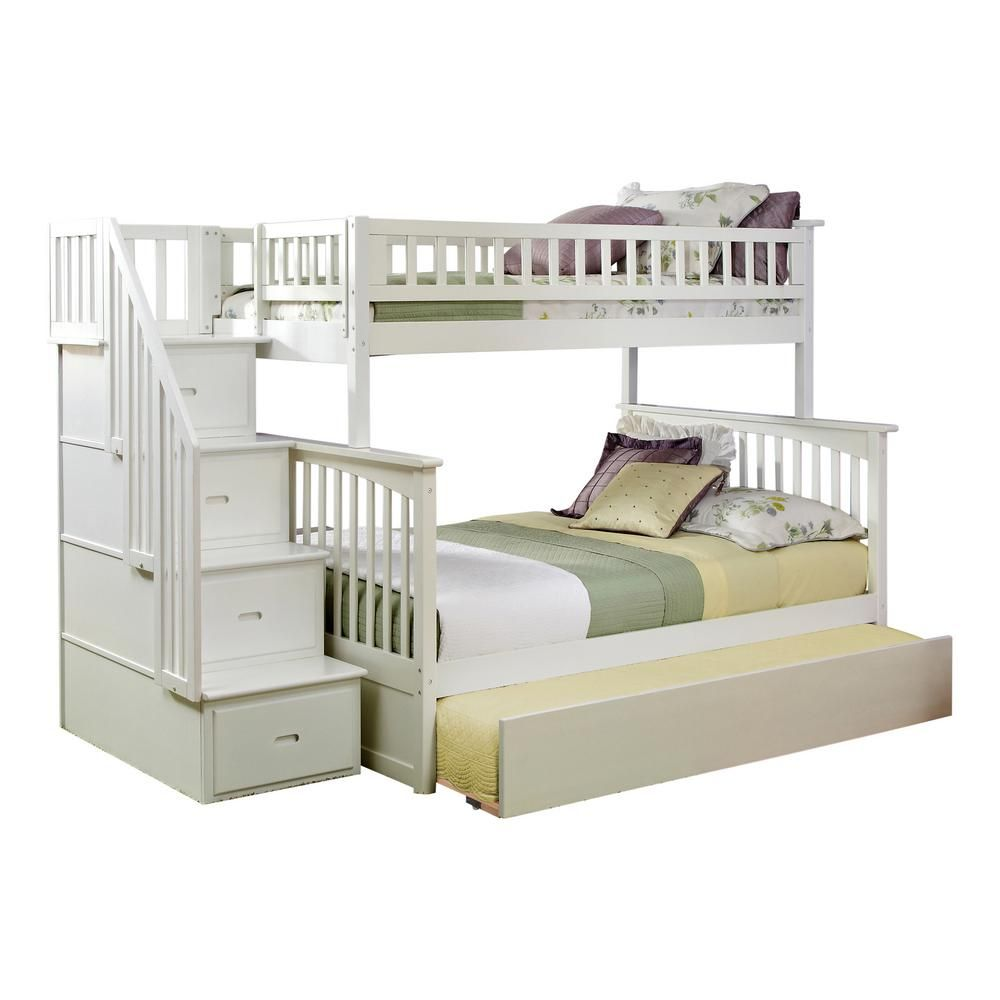 Atlantic Furniture Columbia Staircase White Twin Over Full Bunk Bed