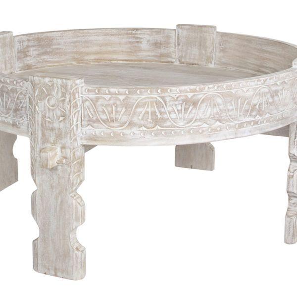 white washed mango wood. Whitewash Mango Wood Round Indian Coffee Table On White Background Washed O