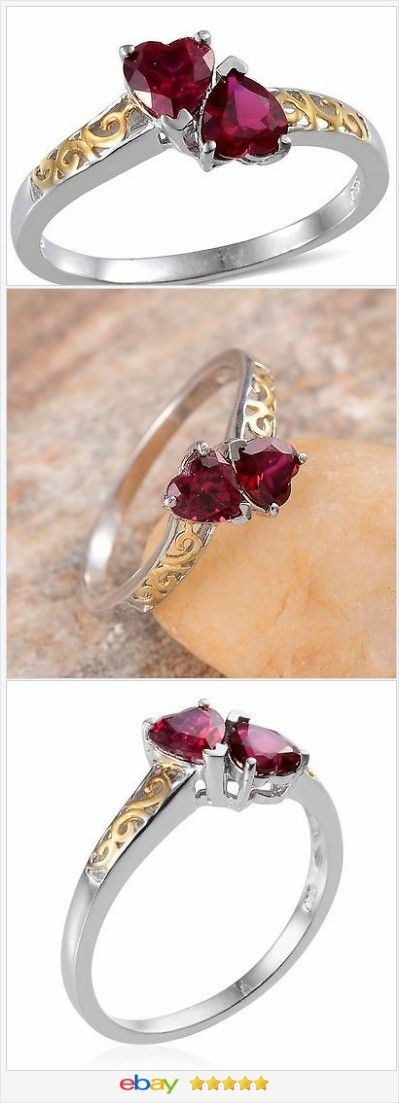 Double Ruby Heart Ring 14K Yellow Gold and Silver size 7 USA