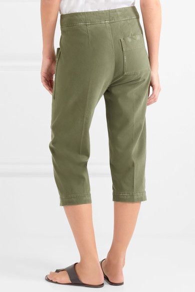 Cheap Sale Clearance From China Cropped Stretch-cotton Twill Pants - Green James Perse Excellent Cheap Price 7AfZDERh