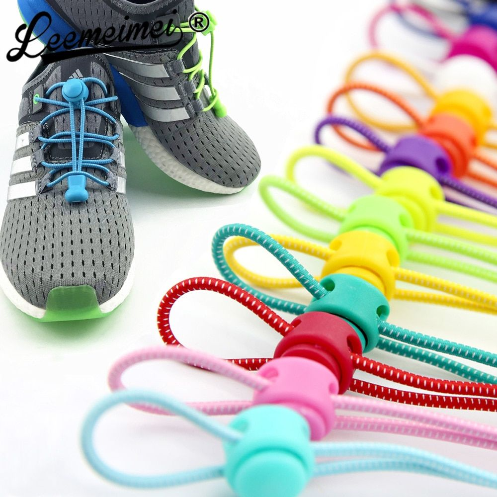 No Tie Lazy Shoelaces Elastic Lock Running Jogging Canvas Sneakers Shoes Laces