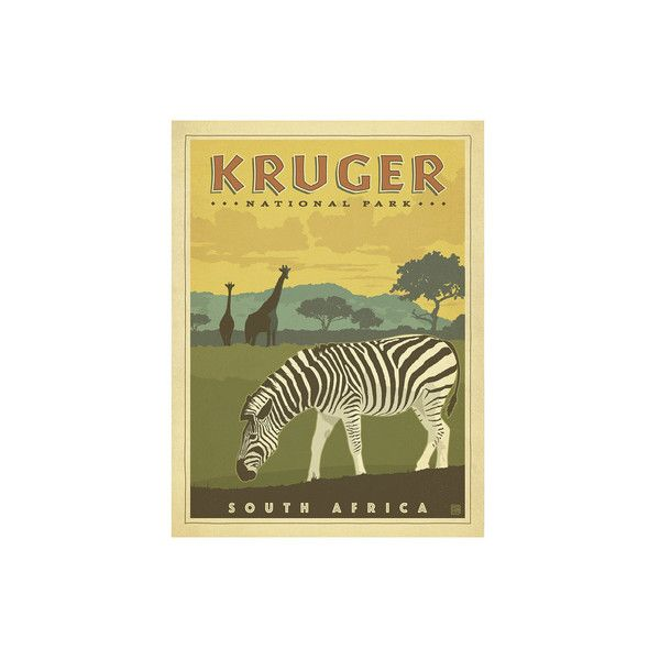 Kruger National Park, South Africa Wall Art Print ($17) ❤ liked on ...