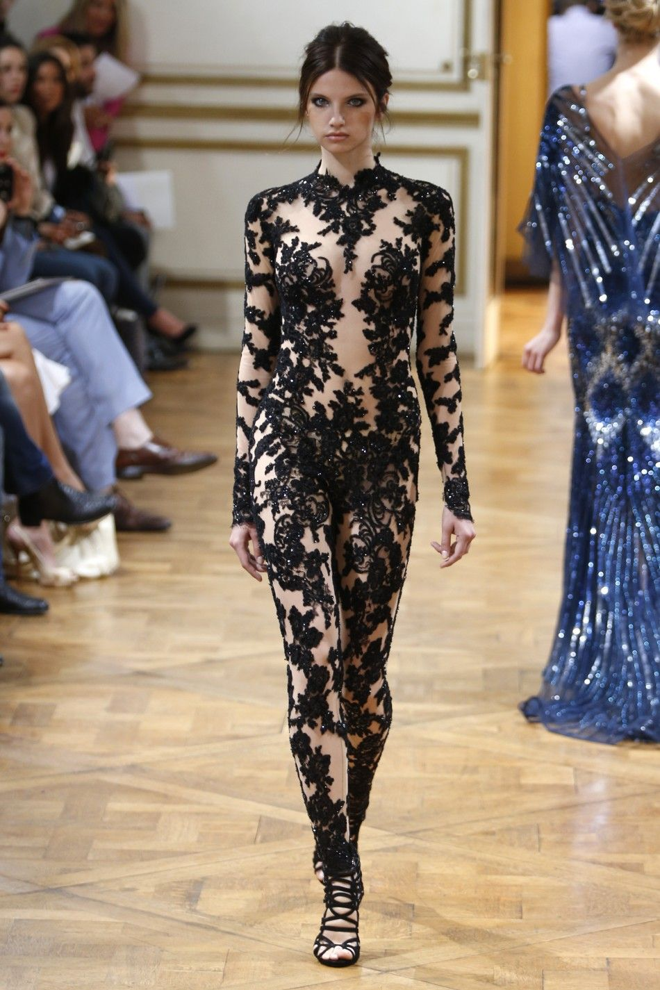 Model in a black lace and sequined zuhair murad couture for Buy haute couture