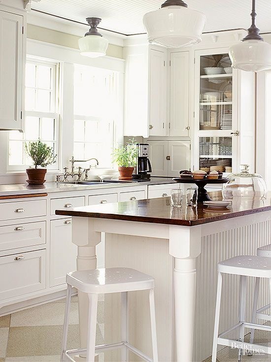 White Kitchen With Dark Stone Island Love It Cabinets Exposed Hinges Fine With Me Kitchen Floor Plans Kitchen Flooring Vintage Kitchen