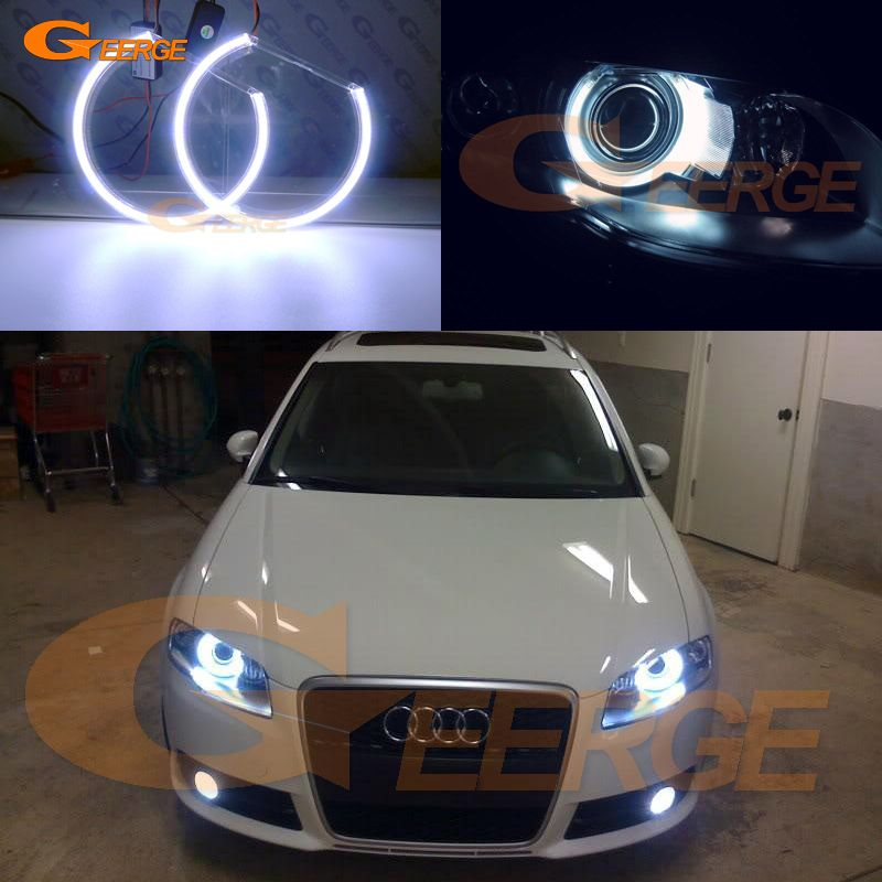 For Audi A4 S4 Rs4 2005 2006 2007 2008 2009 Xenon Headlight Excellent Ultra Bright Illumination Cob Led Angel Eyes Kit Halo Ring Audi A4 Audi Car Lights