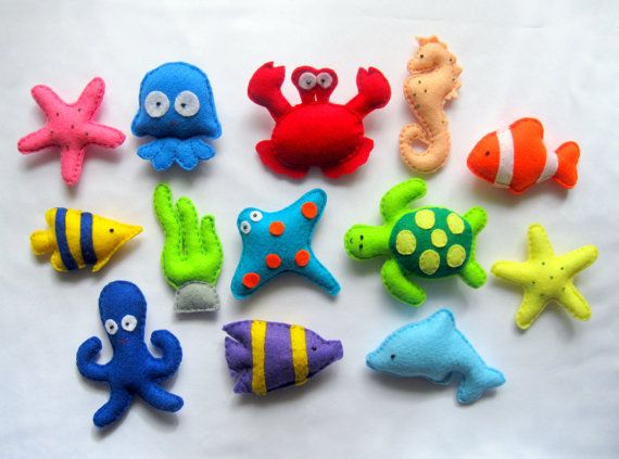 Felt Sea Creatures Collection , Magnets - Baby Toy , Felt fridge magnet ,