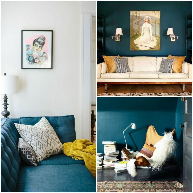 Deco bleu canard et jaune canapé bleu canari plaid jaune peinture