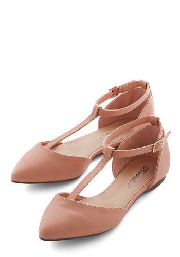 The Time is Ripe Flat - Flat, Faux Leather, Tan, Solid, Wedding, Daytime Party, Good, T-Strap, Work, Pastel