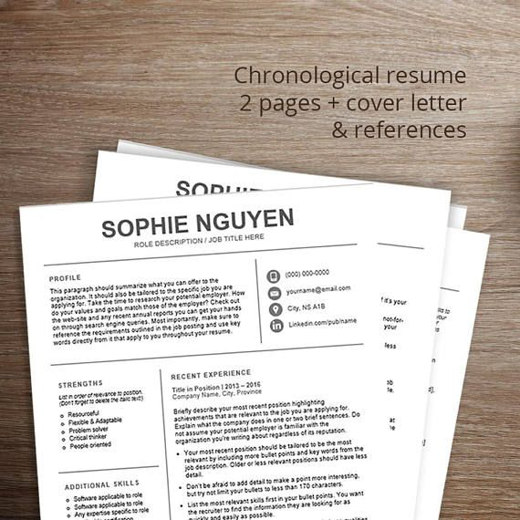 Professional resume template \/ cv template Chronological resume - two page resume template
