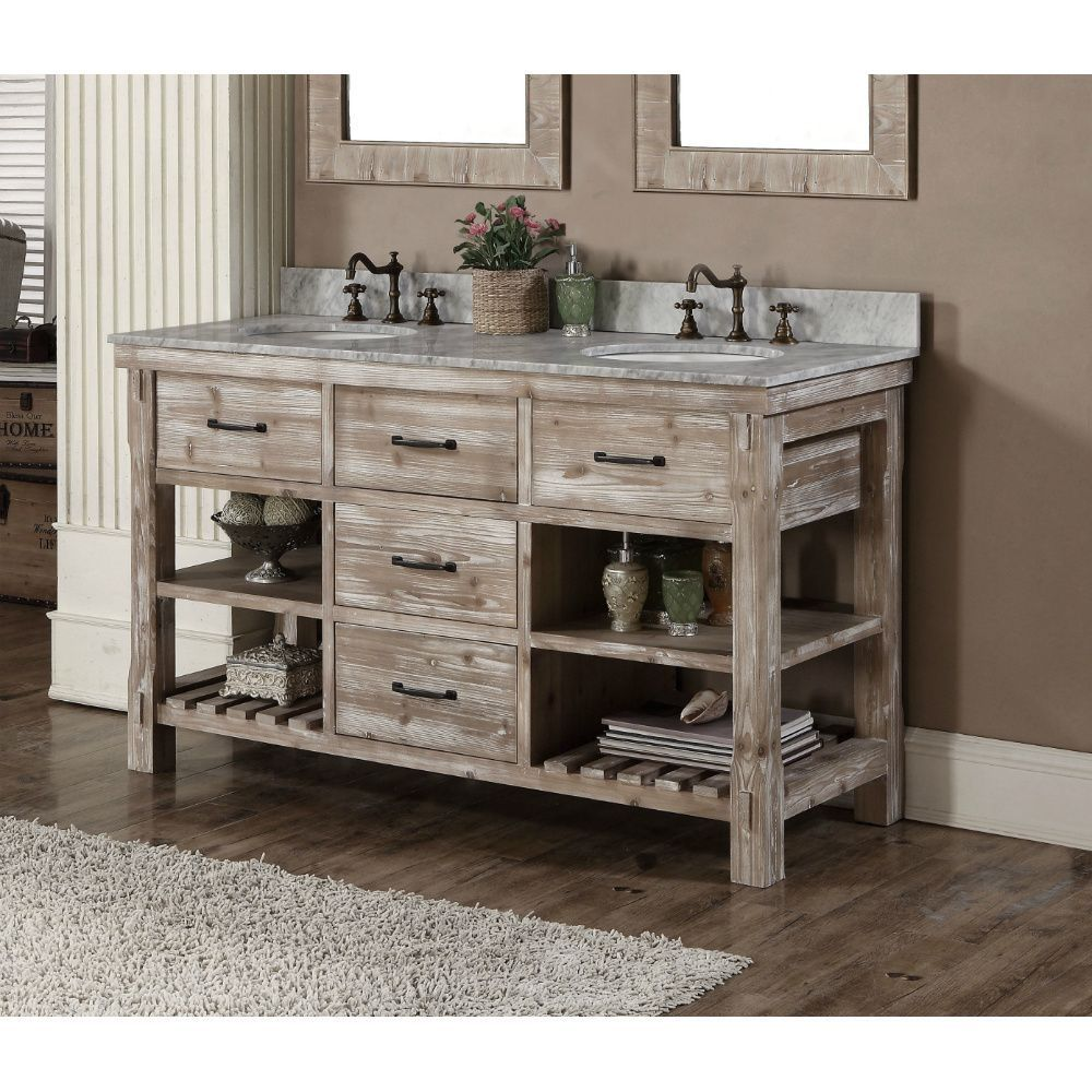 Rustic Style 60 Inch Double Sink Bathroom Vanity With Images