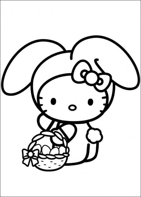 Hello Kitty Wearing Rabbit | Hello Kitty Coloring Pages | Pinterest ...