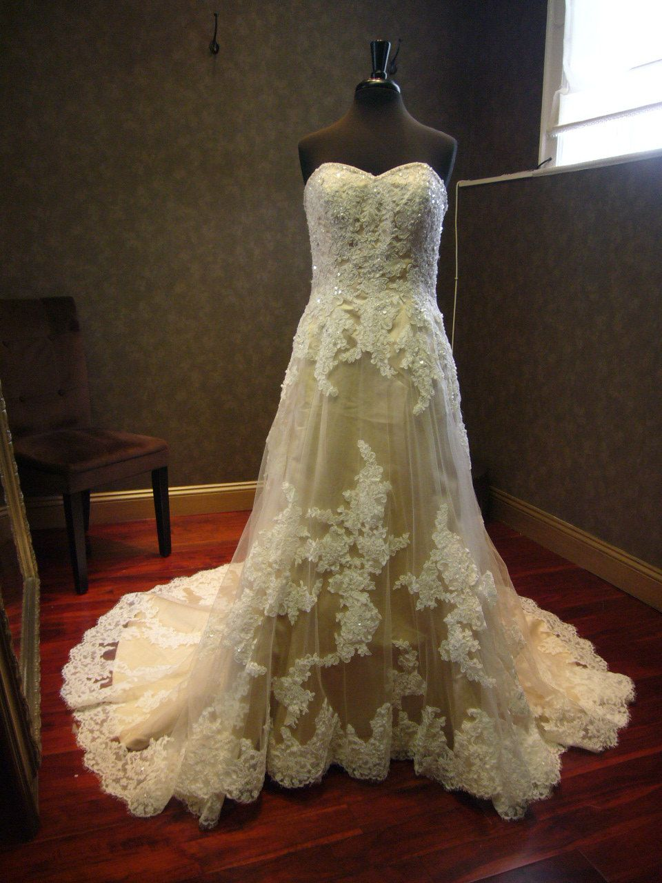 Champagne with Ivory Lace Wedding Dress