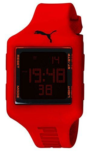 Puma Time Damen Armbanduhr Slide L Red Digital Quarz Plastik