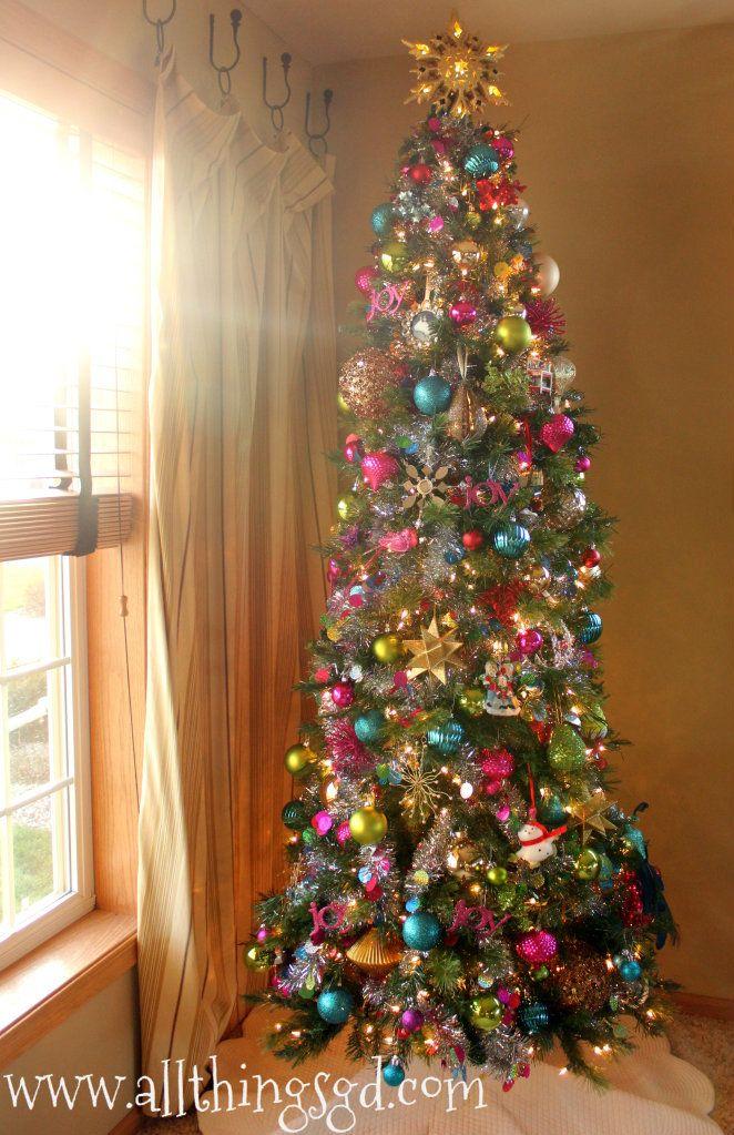 Colorful Christmas Tree  Skinny christmas tree Colorful