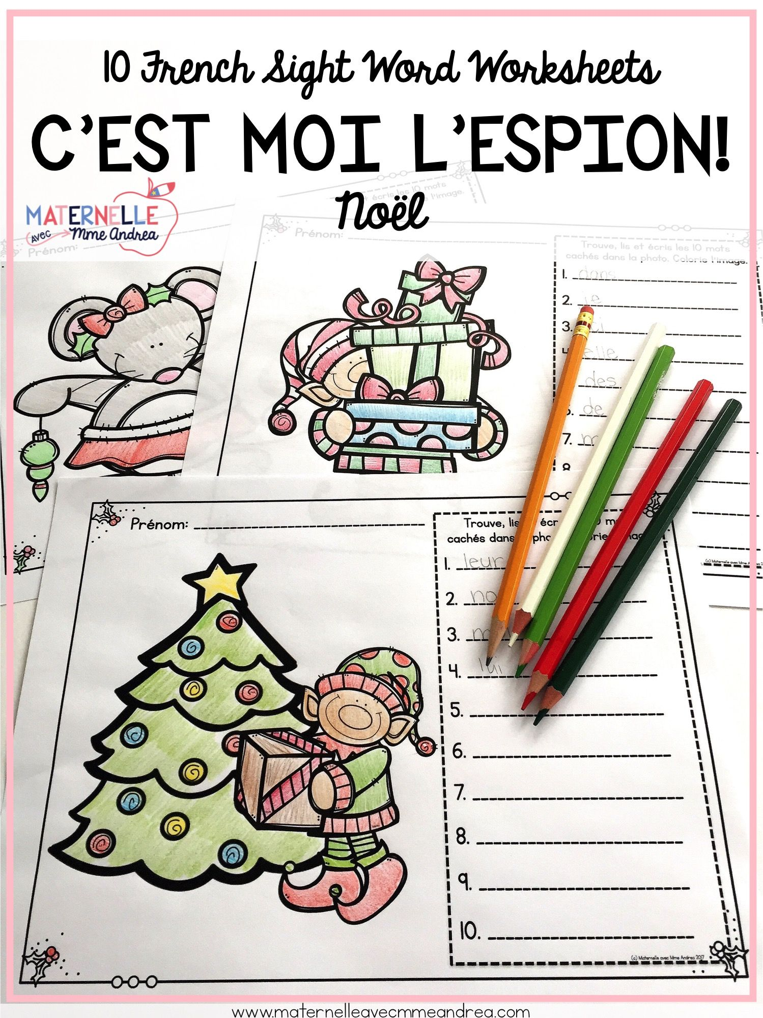 French Christmas Sight Word Reading Amp Writing Practice