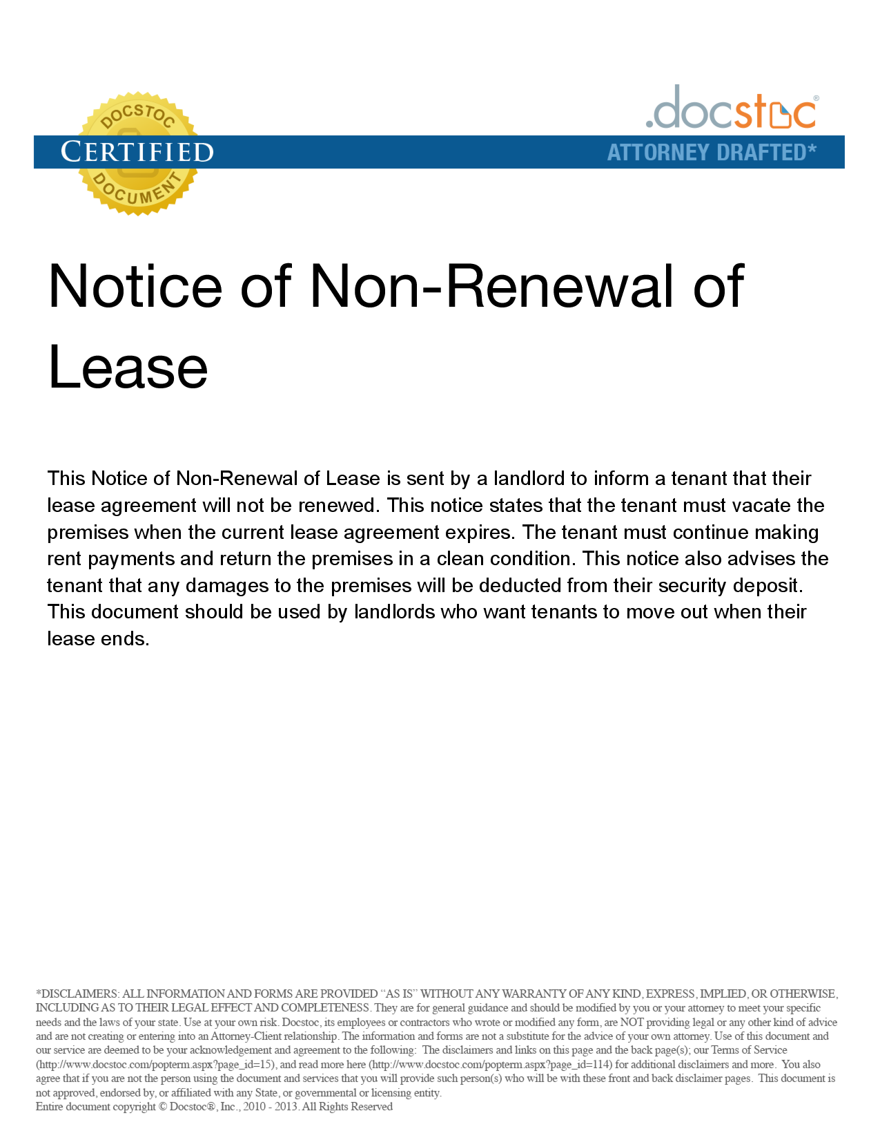 Incroyable Nonrenewal Of Lease Letter   Free Printable Documents