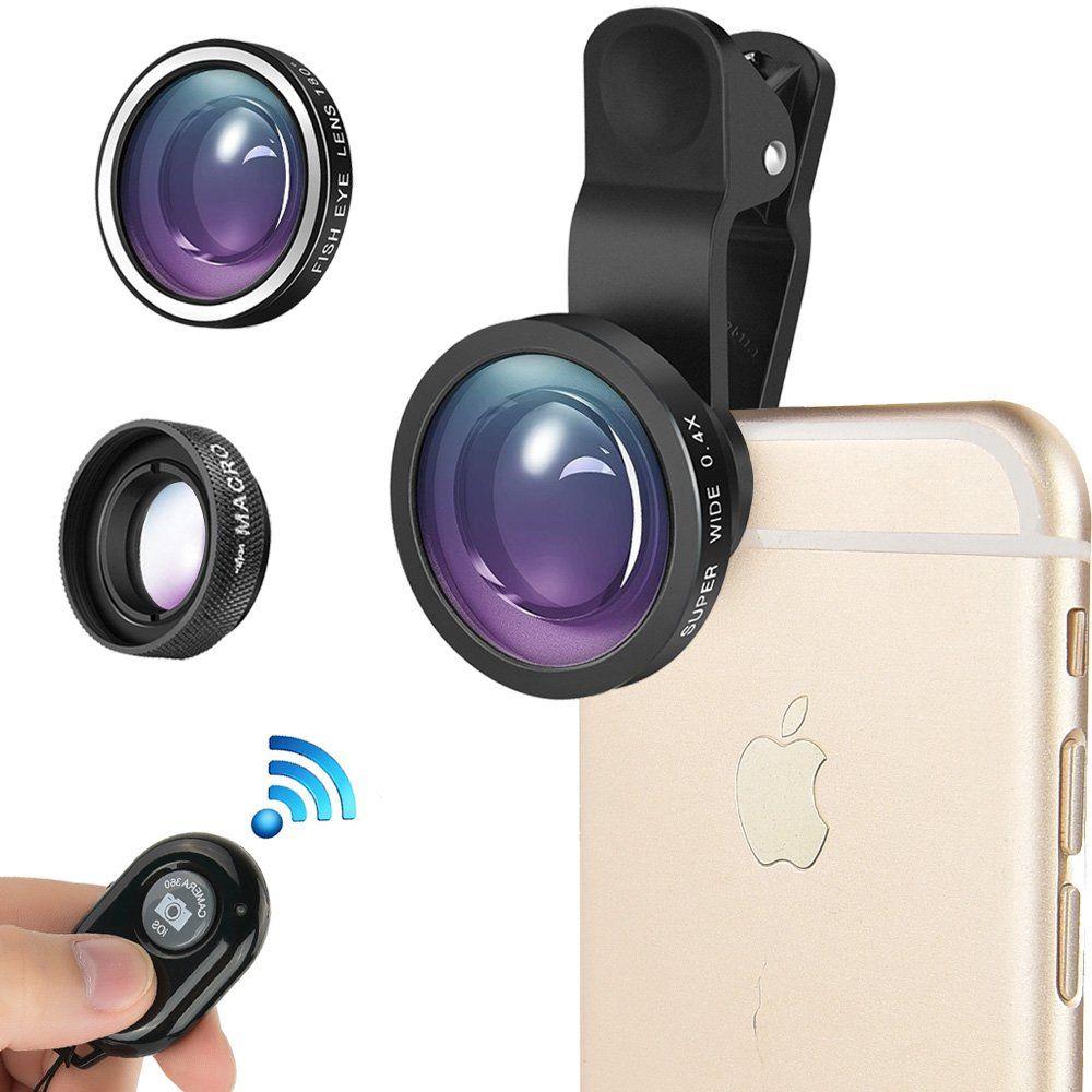 4in1 Mobile Phone Camera Lens Set Fish Eye Wide Angle Macro Clip Ipad Iphone LED