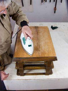 Restoring Veneer On An Antique Table Top Furniture