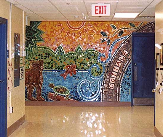In Our Own Backyard Mixed Media Mosaic Mural 8 High X