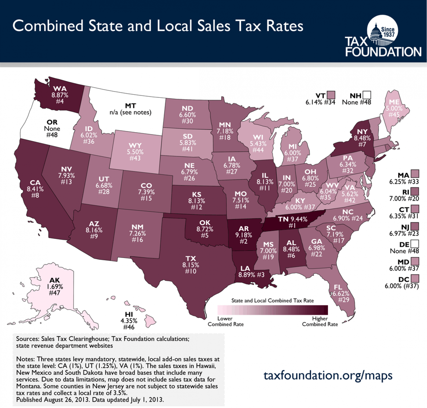 The United States Of Sales Tax In One Map Map Historical Maps