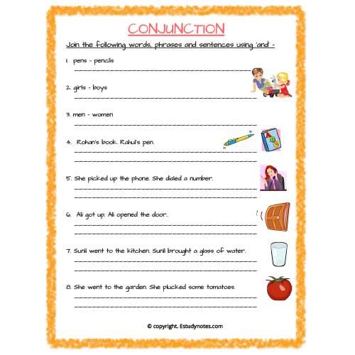 English Conjunction And Worksheet 2 Grade 3 EStudyNotes