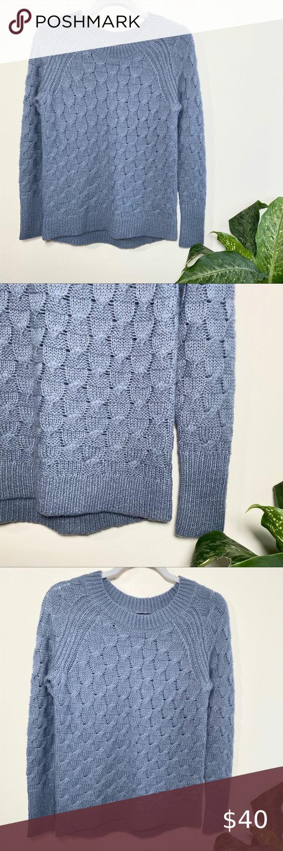 Ann Taylor blue acrylic wool blend sweater small Ann Taylor