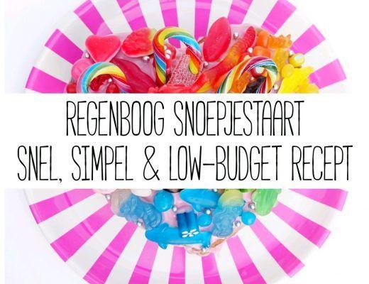 Regenboog snoepjestaart - (snel, simpel & low-budget) recept - Janske.nl