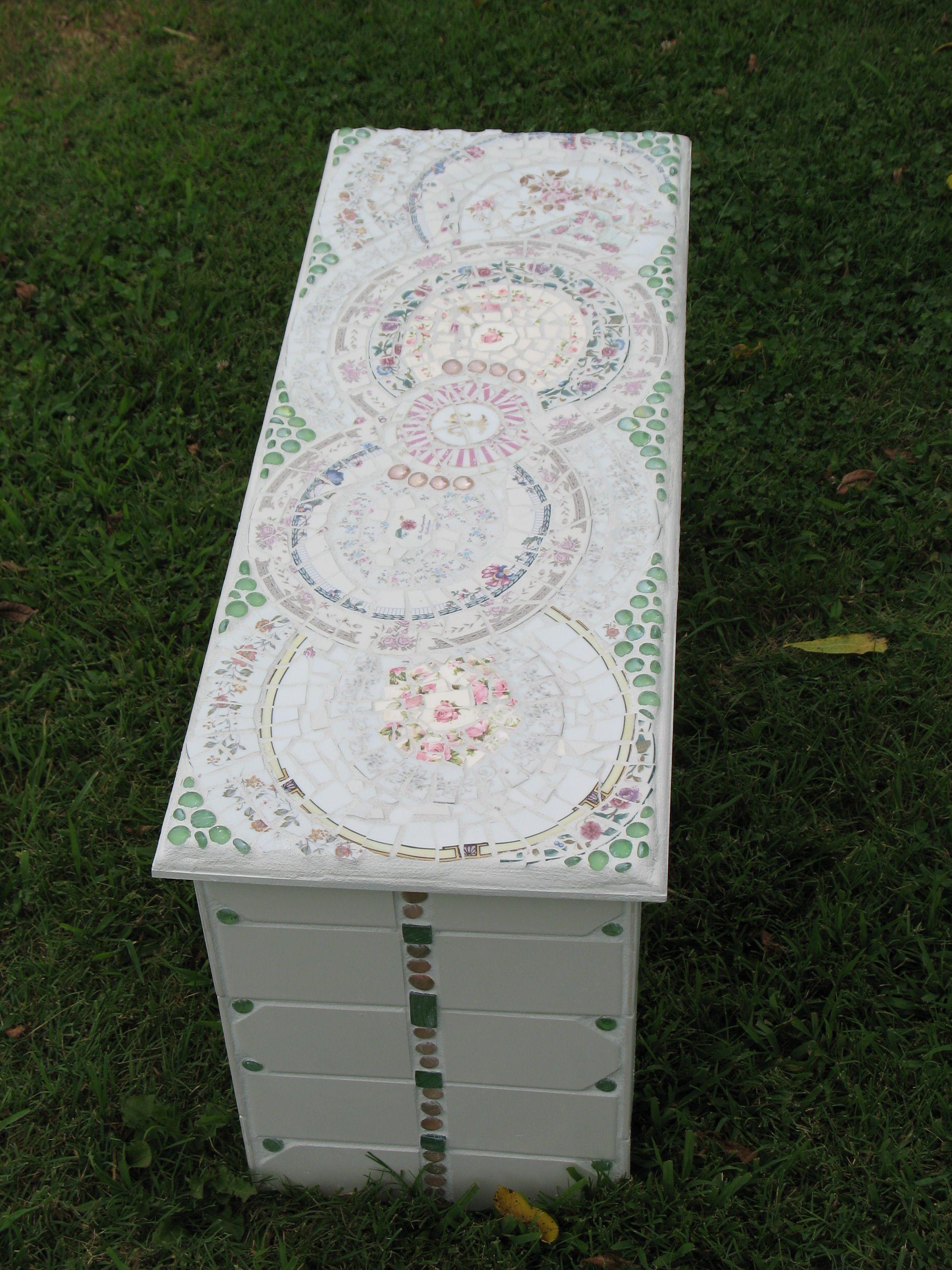 Mosaic Garden Bench Made From Broken Plates Glass Gems