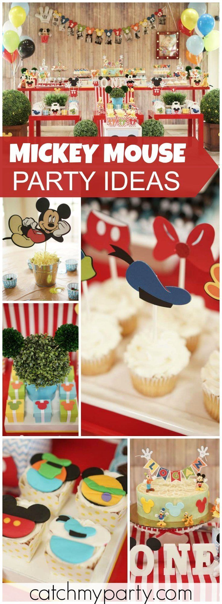 What a colorful Mickey Mouse party for a one year old! See