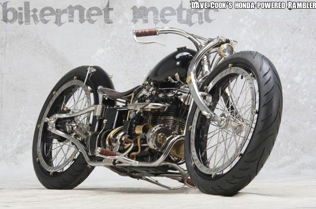 Dave Cook S Rambler Honda Cb550 Transverse 4 Cylinder Custom Bobber Bikermetric Bobber Custom Bobber Motorcycle