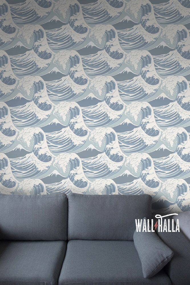 Seamless Self Adhesive Great Wave Pattern Wallpaper Removable Vintage Wall Decals