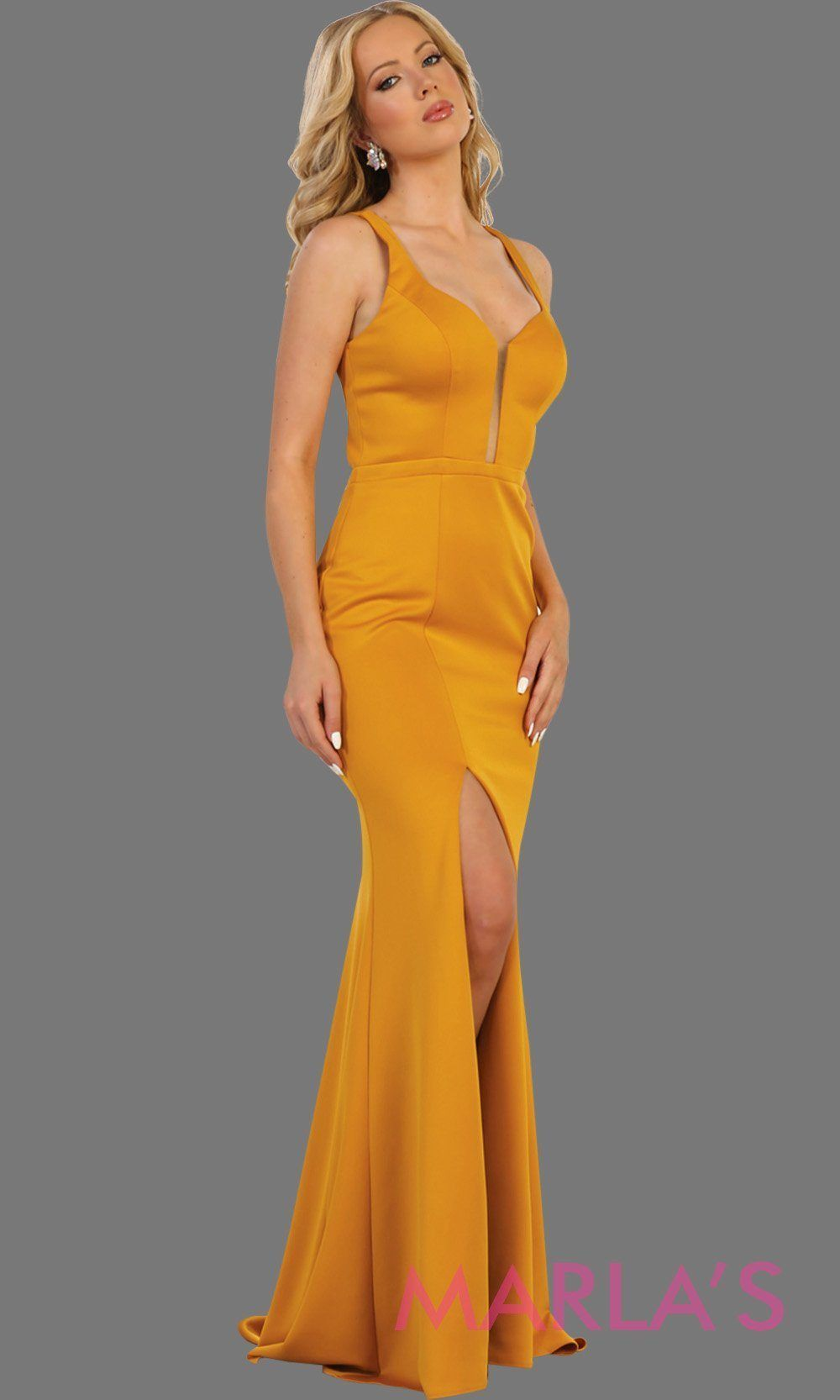 ac255fa90bb2 Long mustard yellow open back dress with high slit. This sleek and sexy  dress is