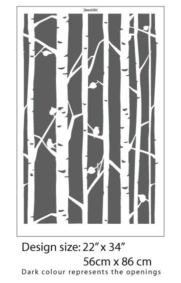 Black 16CC606 Fused Glass Decal Birch Trees 3-7//8