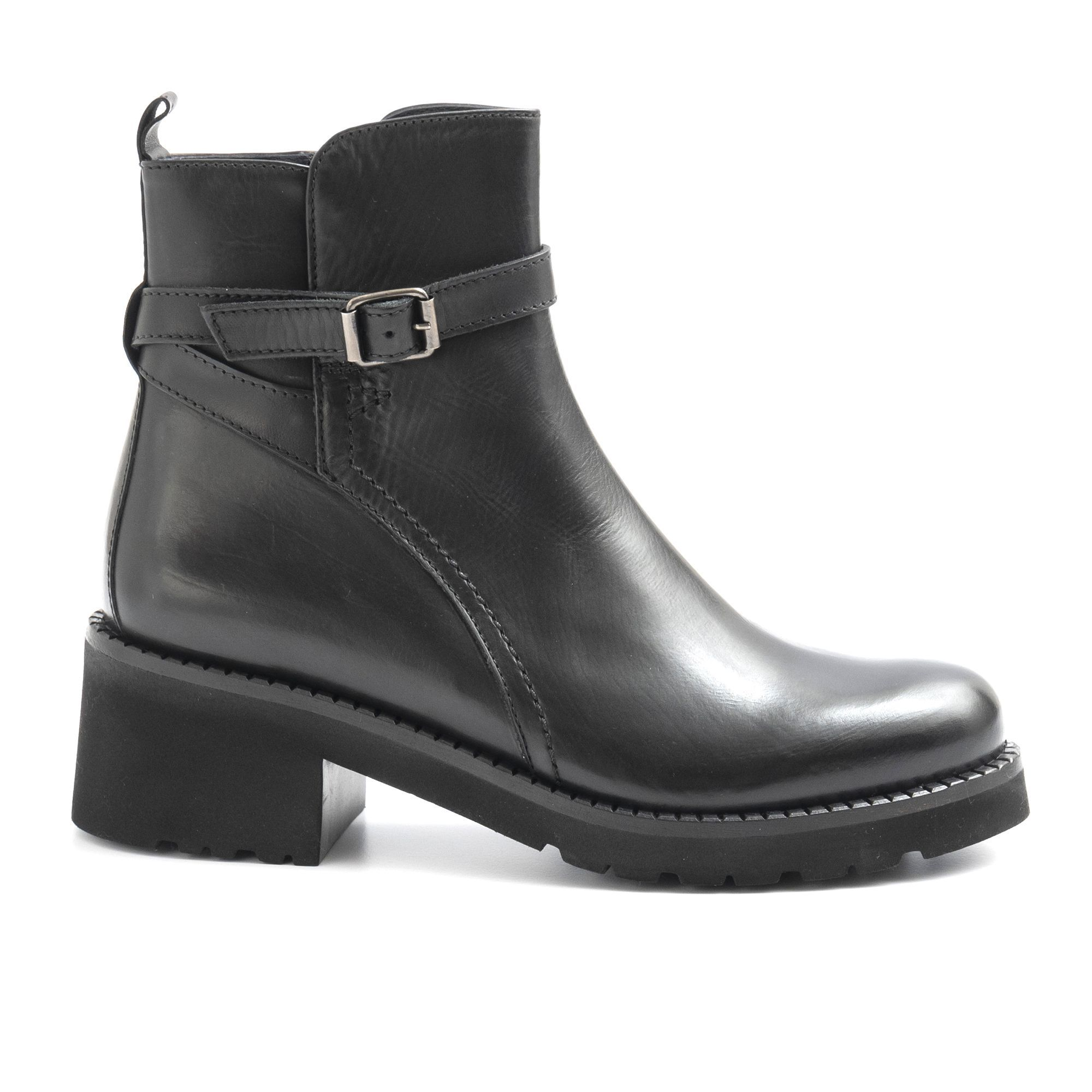 Women's Felicity Leather Buckle Ankle Boots, Black