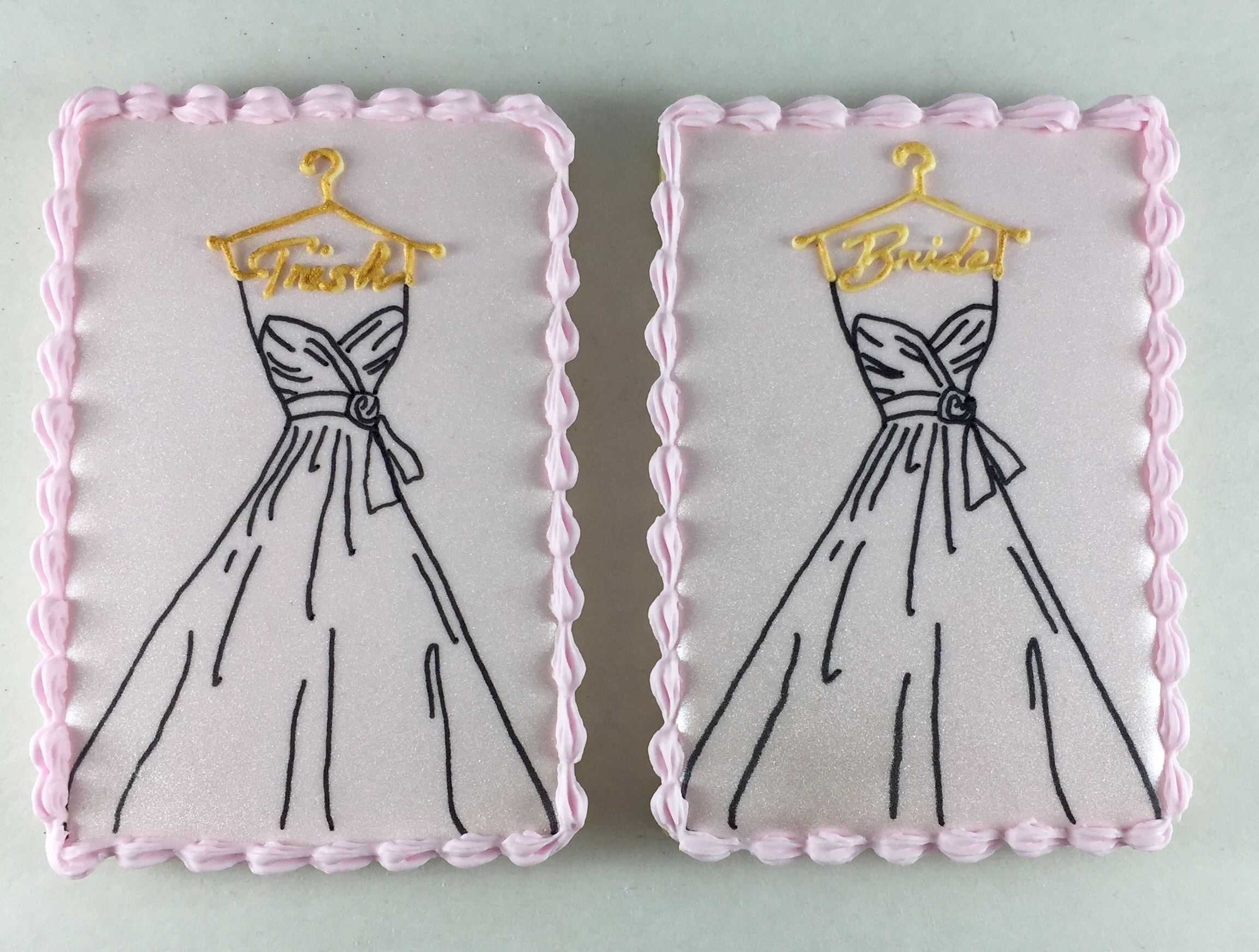 hand-drawn wedding gown cookie with personalized hanger in gold ...