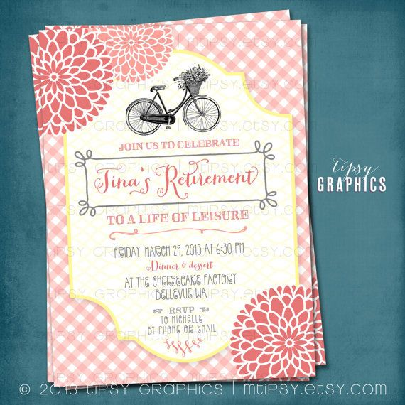 Vintage Bike Gingham Mums Retirement Garden Party Invitation Any