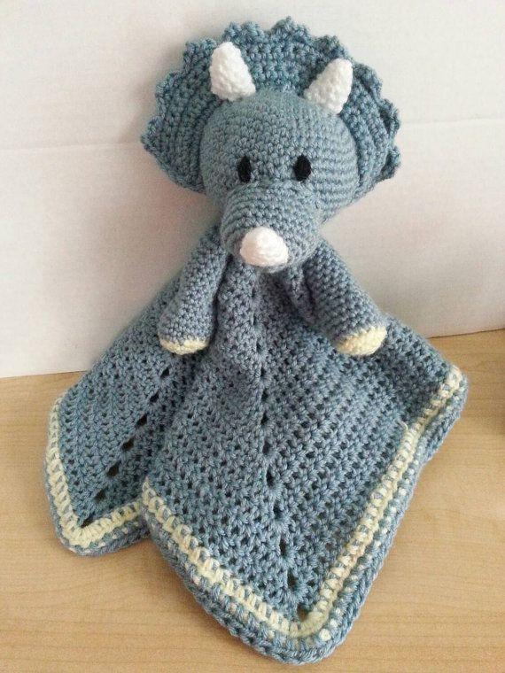 Crochet Snuggle Triceratops Lovey Dinosaur by KozyAfghansbyPhyllis ...