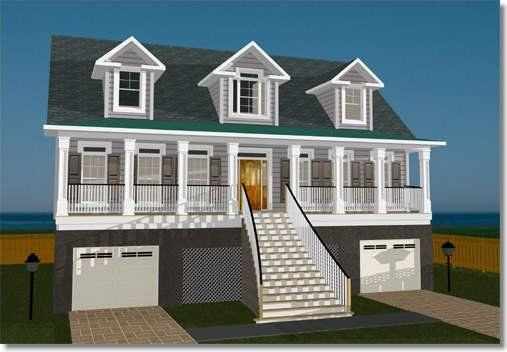 This charming front load elevated home is designed for an a flood zone the elevator goes to all floors to allow you to easy move around in the home