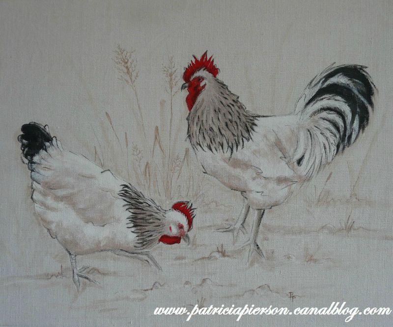 Connu Poule et coq | coq et poule sur toile | Pinterest | Coq, Poule et  VA92