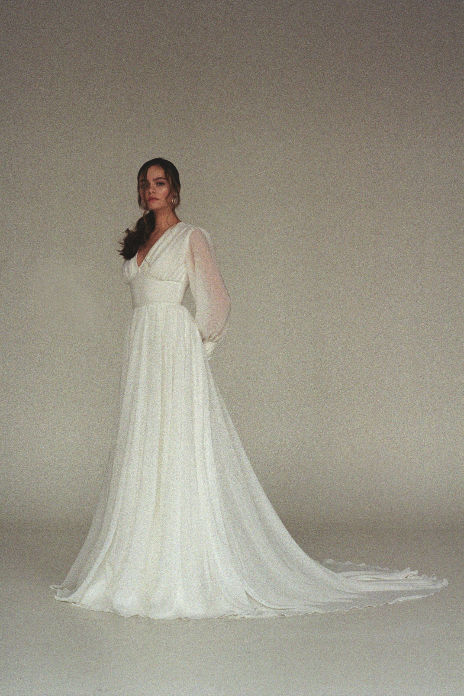 Long Sleeve Wedding Dress Boho Bishop Sleeve Wedding Dress