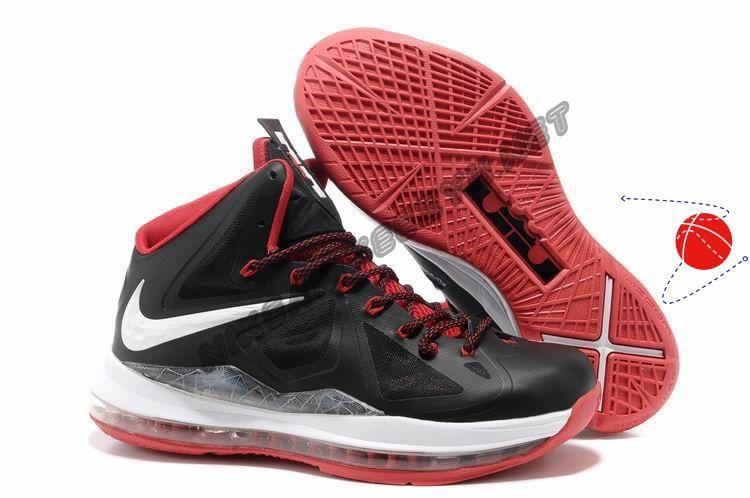Buy Black White Red Style Nike Lebron X 10 Basketball Shoes Shop