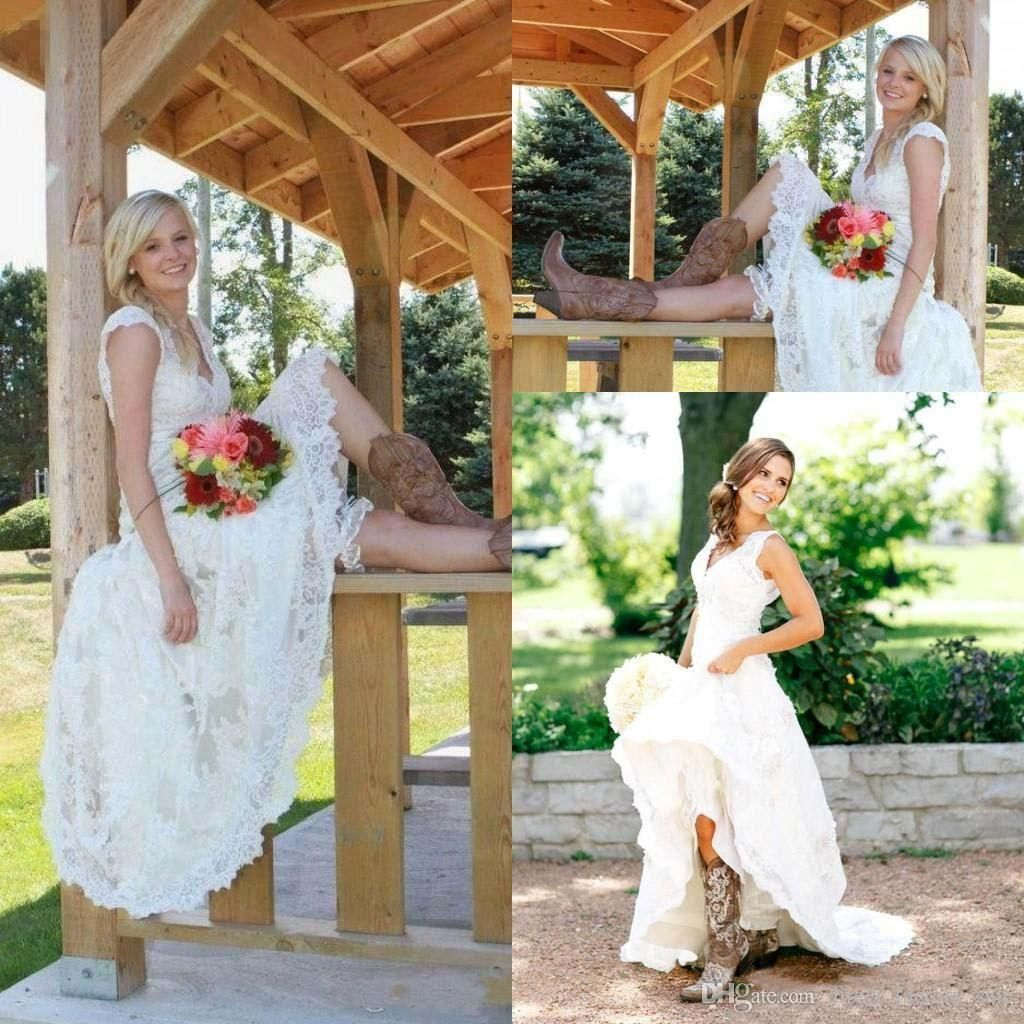 Tea length wedding dresses vintage full lace v neck cap short