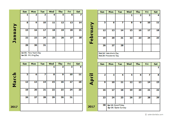 Four Month Calendar Template  Family Time Family Care
