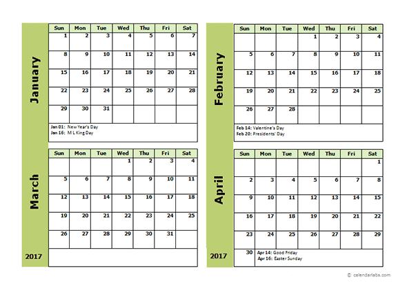 2017 Four Month Calendar Template