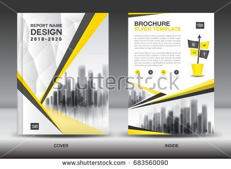 Annual report brochure flyer template, Yellow cover design - advertisement brochure