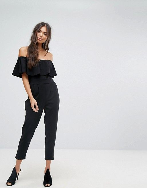 502a0fcffe Outrageous Fortune Bardot Tailored Jumpsuit with Tapered Leg ...